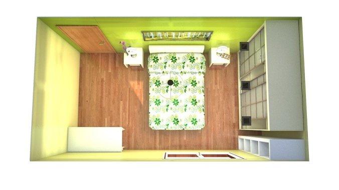 Ubicar la cama en habitación rectangular