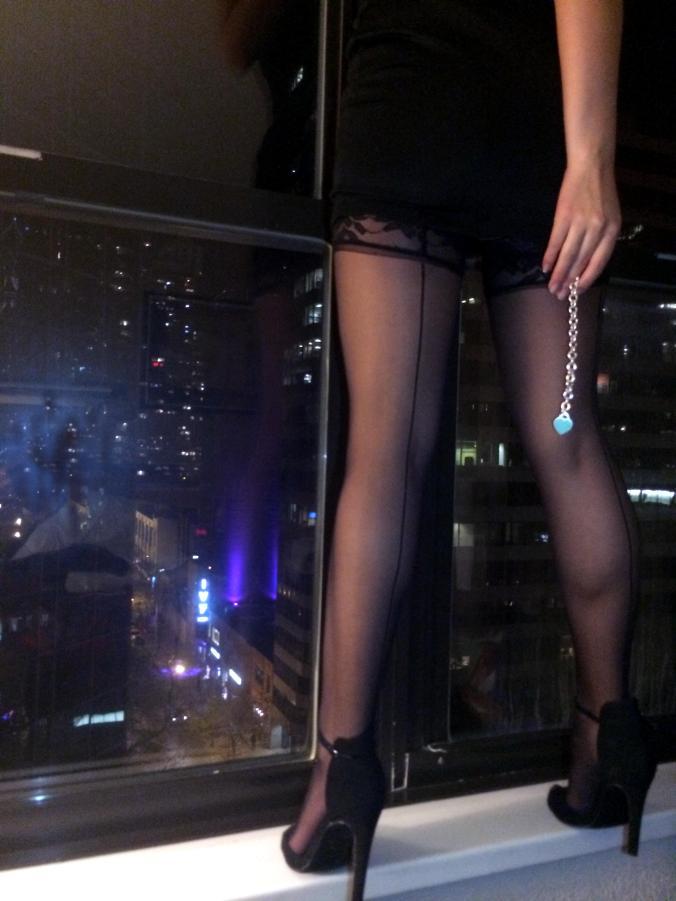 Victoria's secret tights ft. Tiffany & Co bracelet.