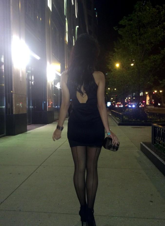On my way to Quartino italian restaurant. Victoria's Secret tights