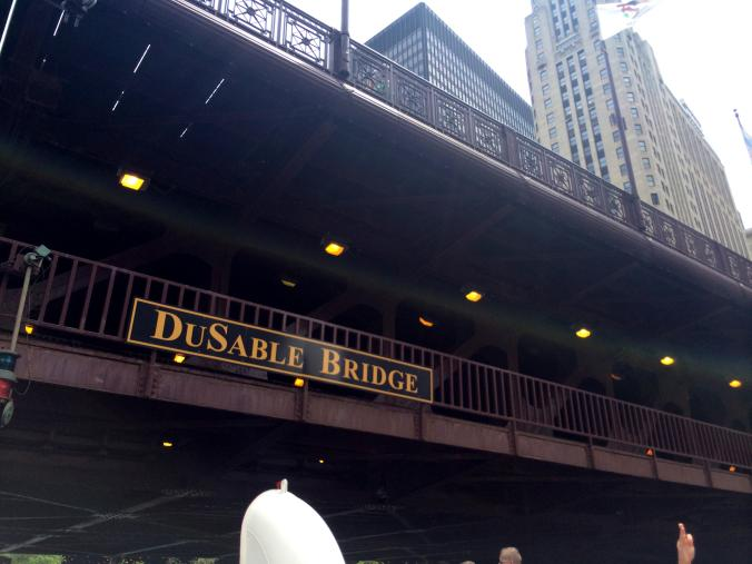 Dusable Bridge - Chicago. View from a boat